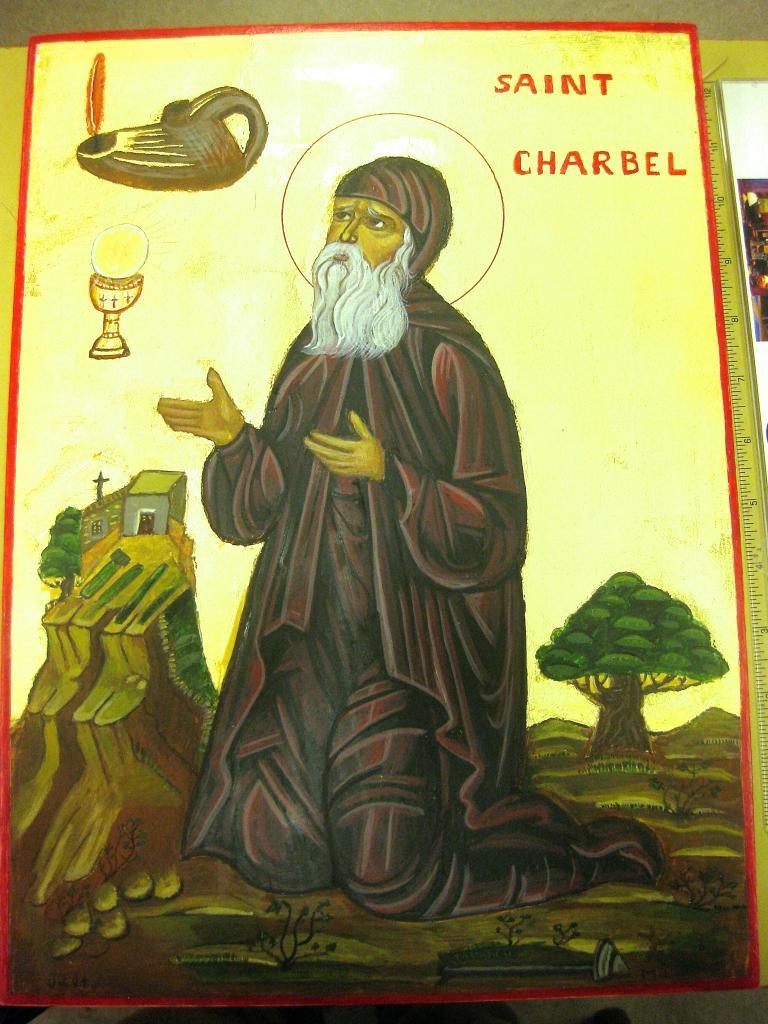 Icone de St Charbel  creation pour le Monastere st Charbel- Belgique